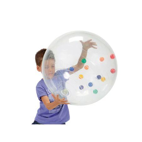 כדור פיזיו שקוף עם כדורים 50 ס