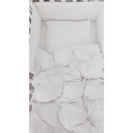 סט מצעים מלא למיטת תינוק | ג'רסי וופל לבן שלג