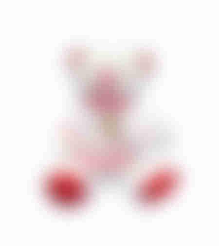 הדפסה על בובת דובי לבן ואדום