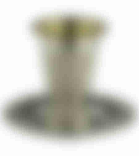 גביע קידוש מהודר ציפוי כסף טהור 925 עם רגל ותחתית 10 ס