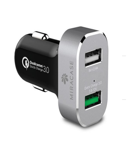 מטען רכב מהיר ואיכותי (יציאות USB כפולות 12W + 18W) מבית MIRACASE