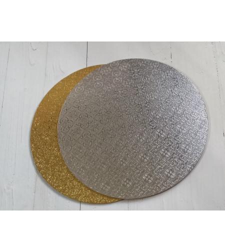 תחתית עוגה פוקר עיגול קוטר 22 צד זהב צד כסף