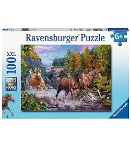 פאזל סוסים על הנחל  100 חלקים Ravensburger