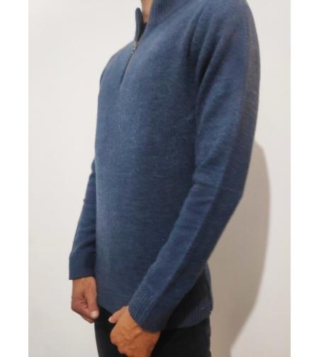 pepe jeans סוודר עם רוכסן צוור כחול