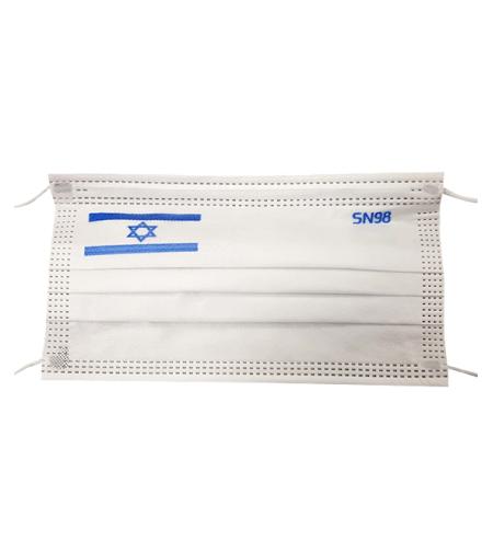 מסיכות כירורגיות עם דגל ישראל רמת סינון והגנה של 98% מבד היפואלרגני תוצרת הארץ (50 יח')