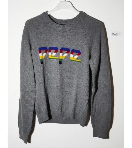 Pepe jean סוודר אפור עם לוגו