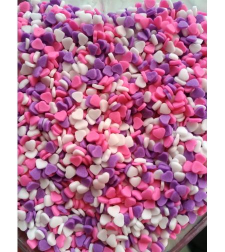 סוכריות מיני לבבות ורוד  סגול לבן (3 מ
