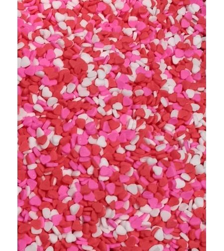 סוכריות מיני לבבות אדום ורוד לבן (3 מ