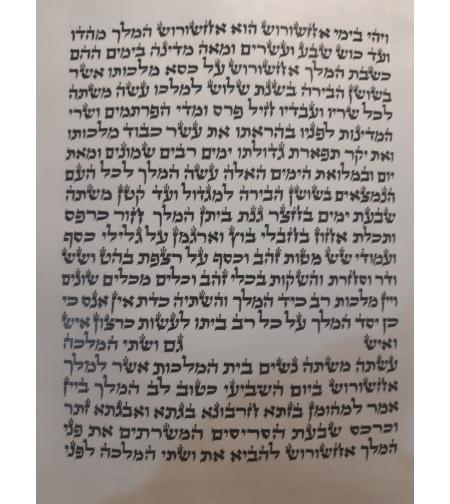 מגילת אסתר 'המלך' 21 שורות 28 שורות דגם הדר