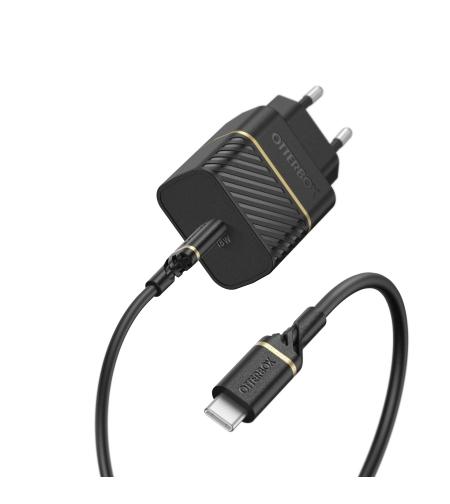 מטען בית מהיר פרימיום USB C 18W - PD וכבל TYPE- C שחור
