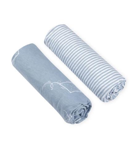 זוג סדינים טריקו מיטה/עריסה/עגלה עפיפון כחול