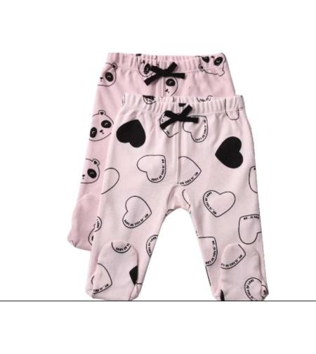זוג מכנסיים ארוכים עם רגליות דובי ורוד- מיננה