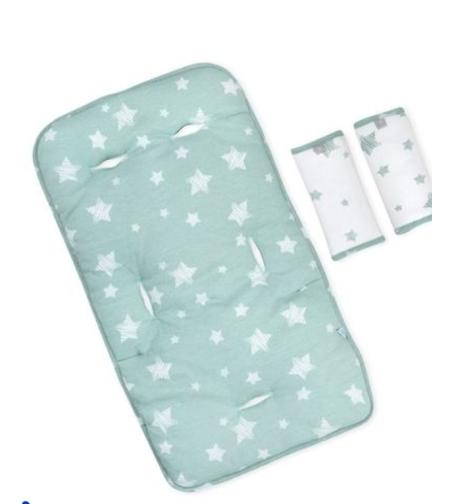 מזרן ריפודית לעגלת תינוק עם זוג חבקים - כוכבים ירוק לורה סוויסרה