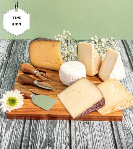 ארבל -מארז מתנה קרש עץ וסכינים עם גבינות משובחות