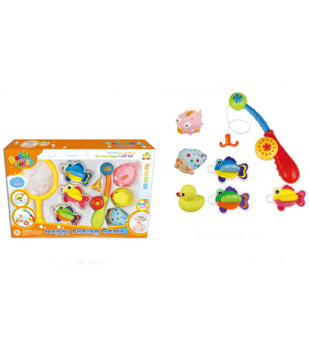 סט צעצועים בצורת חיות+חכה+רשת לאמבטיה 40X26 ס