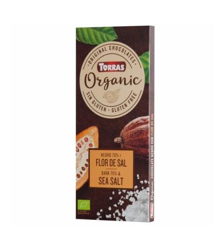 טוראס – שוקולד אורגני מריר 70% מלח ים 100 גרם