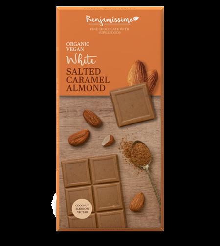 שוקולד מריר אורגני שקד קרמל מלוח ביו בנג'מין