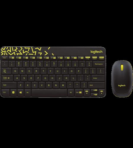 סט מקלדת ועכבר אלחוטיים Logitech MK240 NANO Wireless בצבע שחור וצהוב עברית ואנגלית