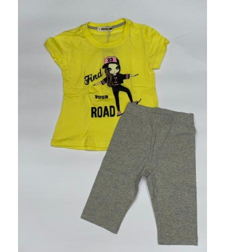 חליפת בנות (2-10) FOCUS צהוב\טורקיז\ורוד