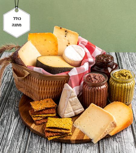 עין הוד-ערכת פיקניק רומנטית של גבינות, מטבלים וקרקרים