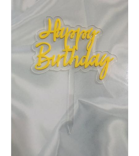 טופר HAPPY BIRTHDAY  - צהוב