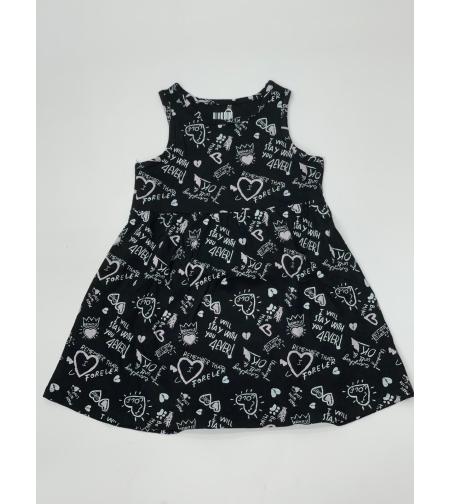 שמלה בנות 4-12 שחור\אפרסק