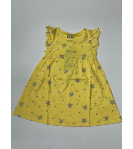 שמלה בנות 4-12 צהוב\ורוד