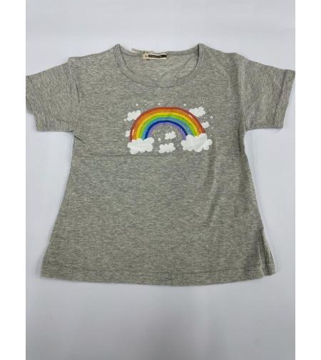 חולצה בנות 100% כותנה FOCUS (סגול\אפור\טורקיז)