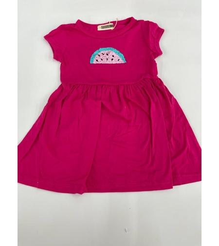 שמלה בנות 100% כותנה 2-12 FOCUS (ורוד\צהוב\ורוד בייבי)