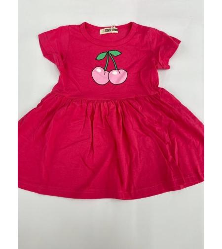 שמלה בנות 100% כותנה 2-12 FOCUS (ורוד בייבי\ורוד\לבן)