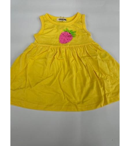 שמלה בנות 100% כותנה 2-12 FOCUS (ורוד\לבן\צהוב)