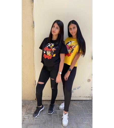 חולצה נשים 0-2 100% כותנה (ורוד\לבן\צהוב\שחור)