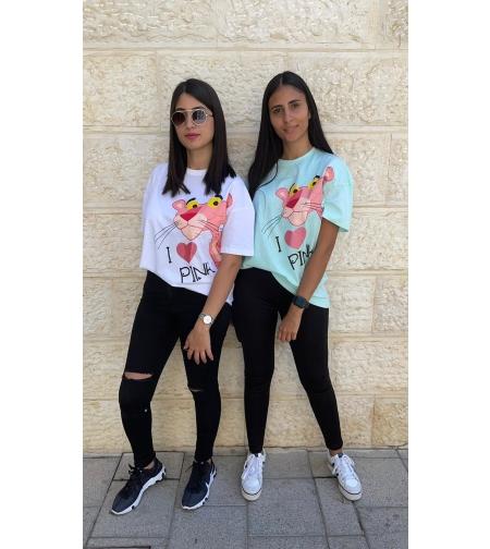 חולצה נשים 0-2 100% כותנה (טורקיז\לבן\שחור\ורוד)