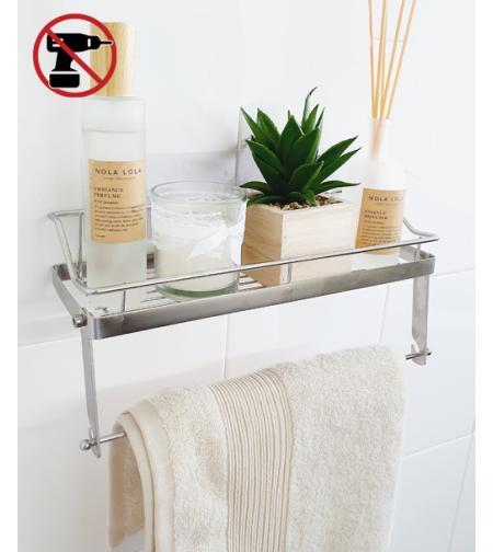 מדף עם מתלה למגבת לאמבטיה ללא קדיחה מנירוסטה