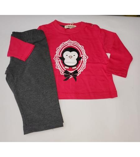 חליפה מעבר תינוקות בנות פוקוס מידה 12-24 חודש (אדום\ורוד\אפור)