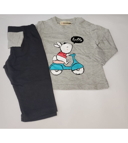 חליפה מעבר תינוקות בנות פוקוס מידה 12-24 חודש (אפור\אפור עכבר\טורקיז)
