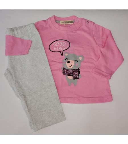 חליפה מעבר תינוקות בנות פוקוס מידה 12-24 (ורוד\אדום\אפור)