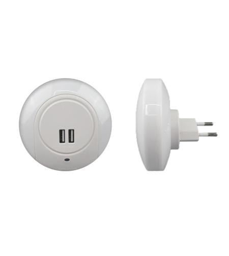 מנורת לילה 1W לד + מטען USB
