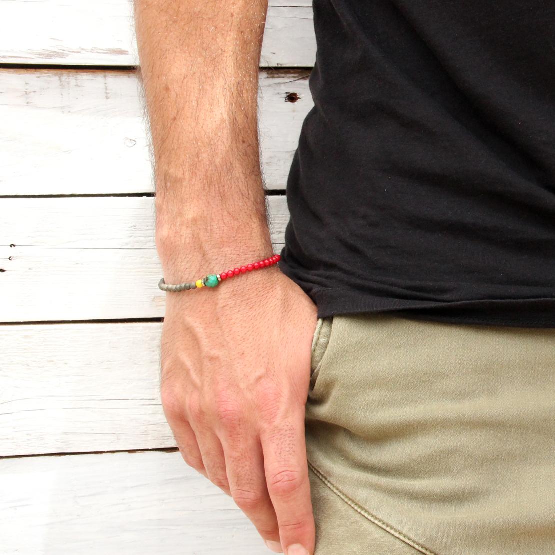 צמיד ברצלונה גברים - אדום, צהוב, כסף 925