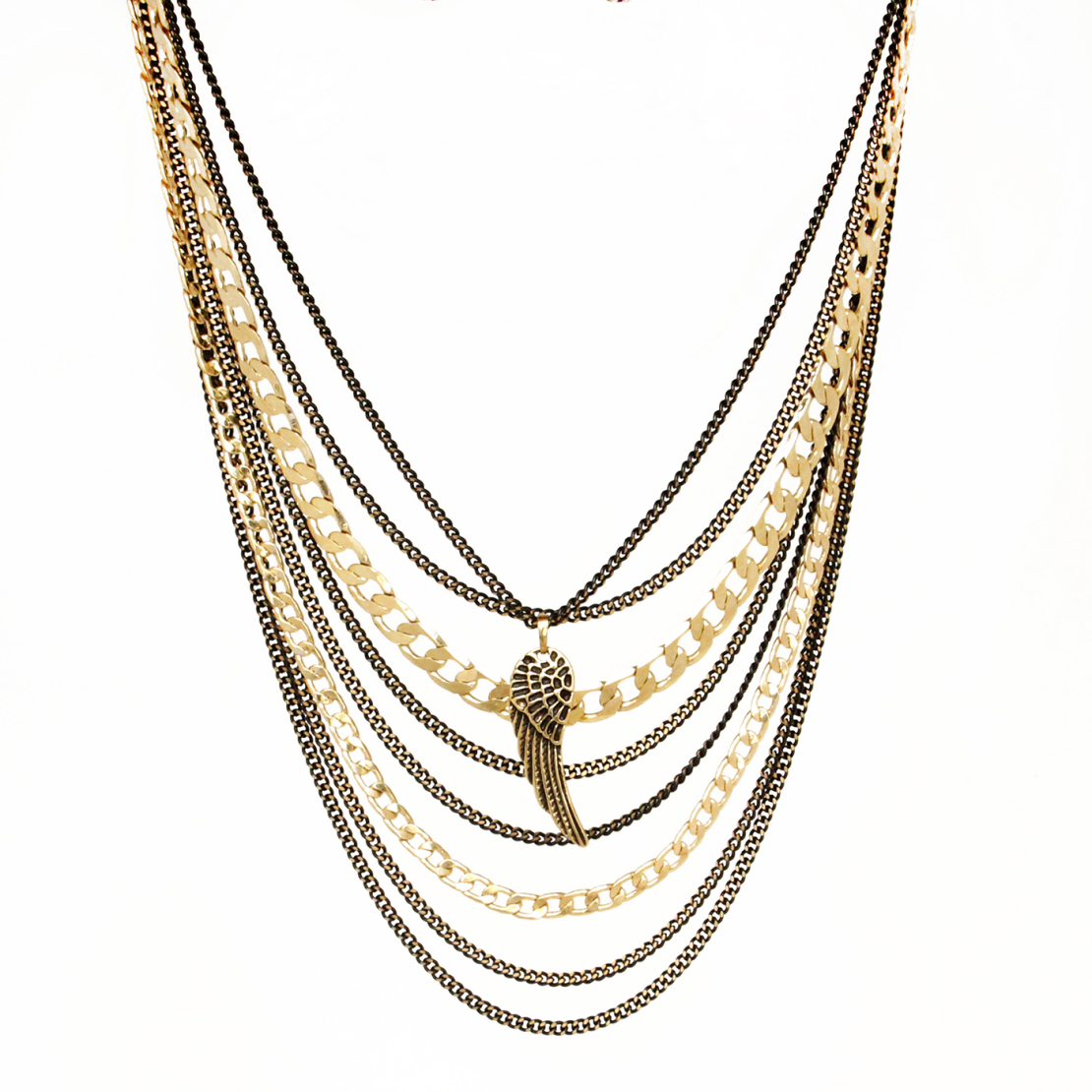 שרשרת כנף - שחור זהב