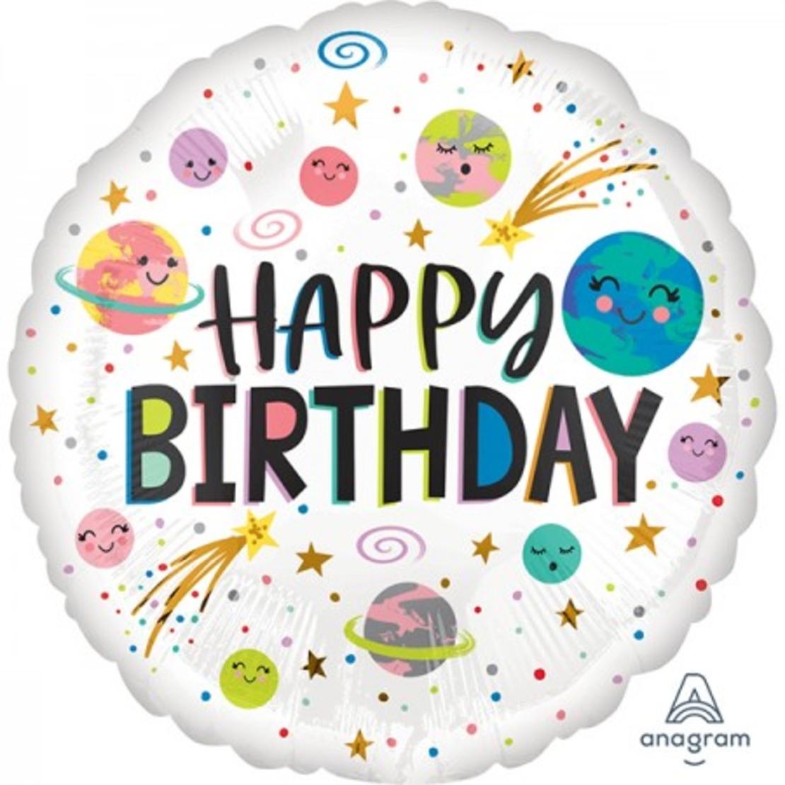 בלון לבן Happy birthday עם נקודות וכוכבים