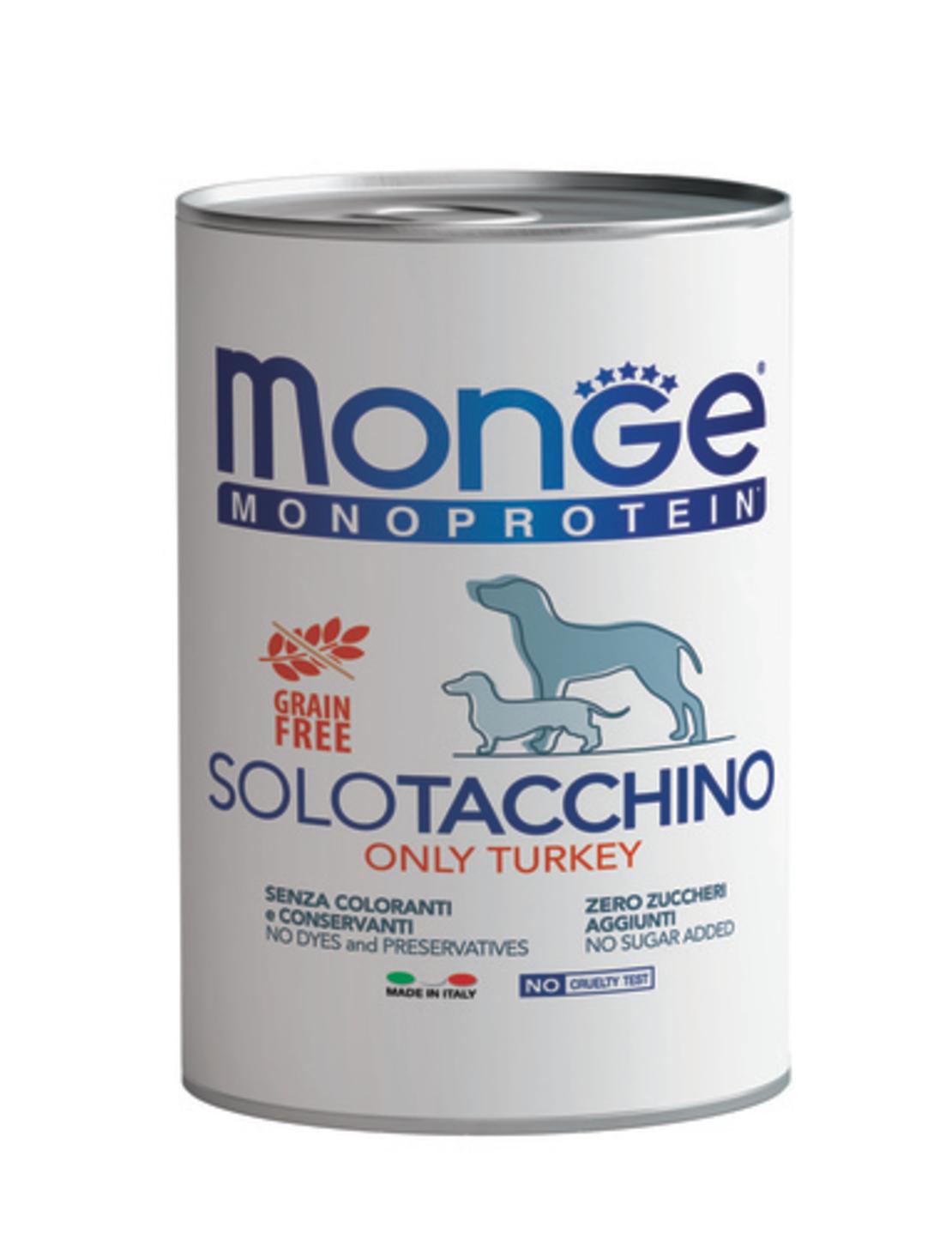 MONGE מונג' מזון רטוב לכלבים בפחית שימורים מונו פרוטאין בטעמים: כבש / ברווז / טונה / הודו 400 גרם