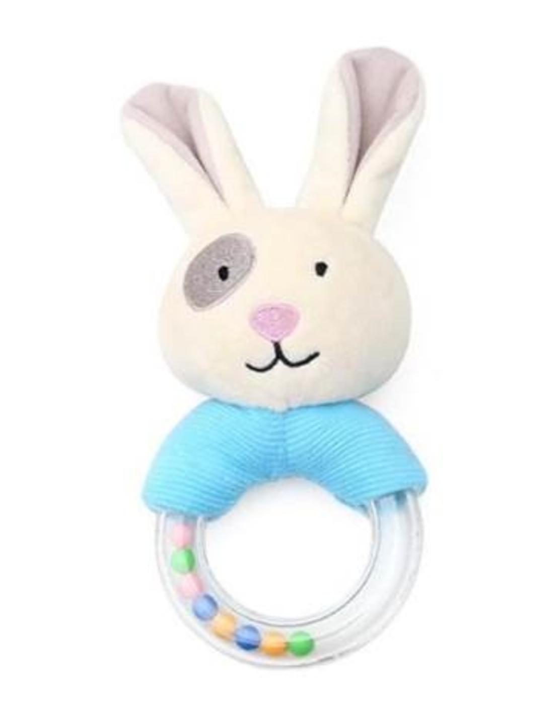 10# - מתנה לתינוק המאושר : שמיכה, קפוצ'ון מגבת, שלישיית חיתולי טטרה ורעשן טבעת בקופסת בד לצעצועים