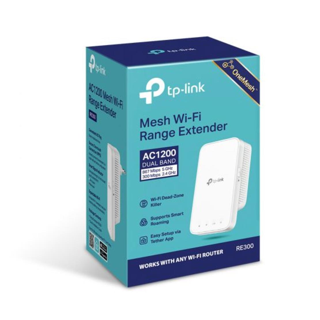 אקסס פוינט Tp-Link RE300 1200MBPS AC RE300 AC1200 Mesh Wi-Fi Range Extender