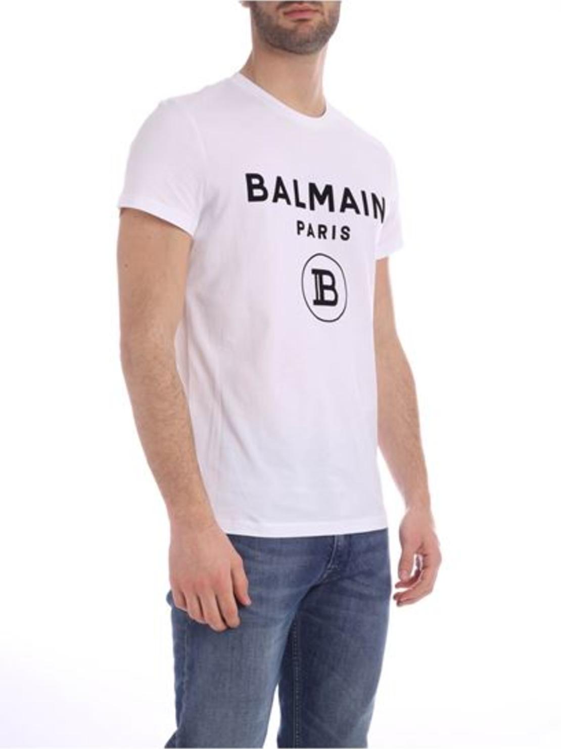 BALMAIN - T-SHIRT FLOCK LOGO