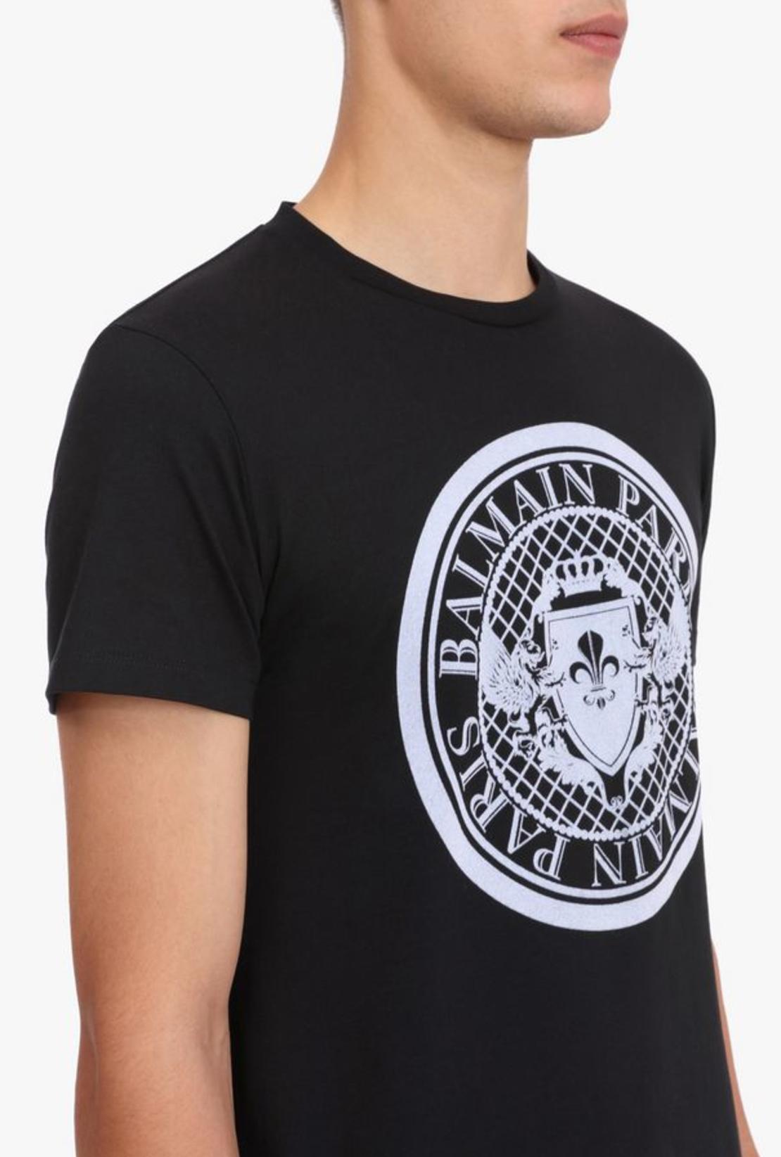 BALMAIN -  T-shirt With Balmain Medallion Print  -BLACK