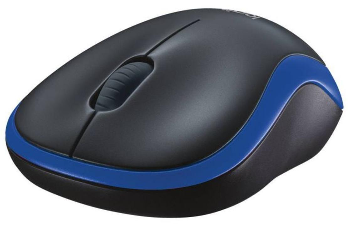 עכבר אלחוטי Logitech Wireless Mouse M185 בצבע שחור-כחול
