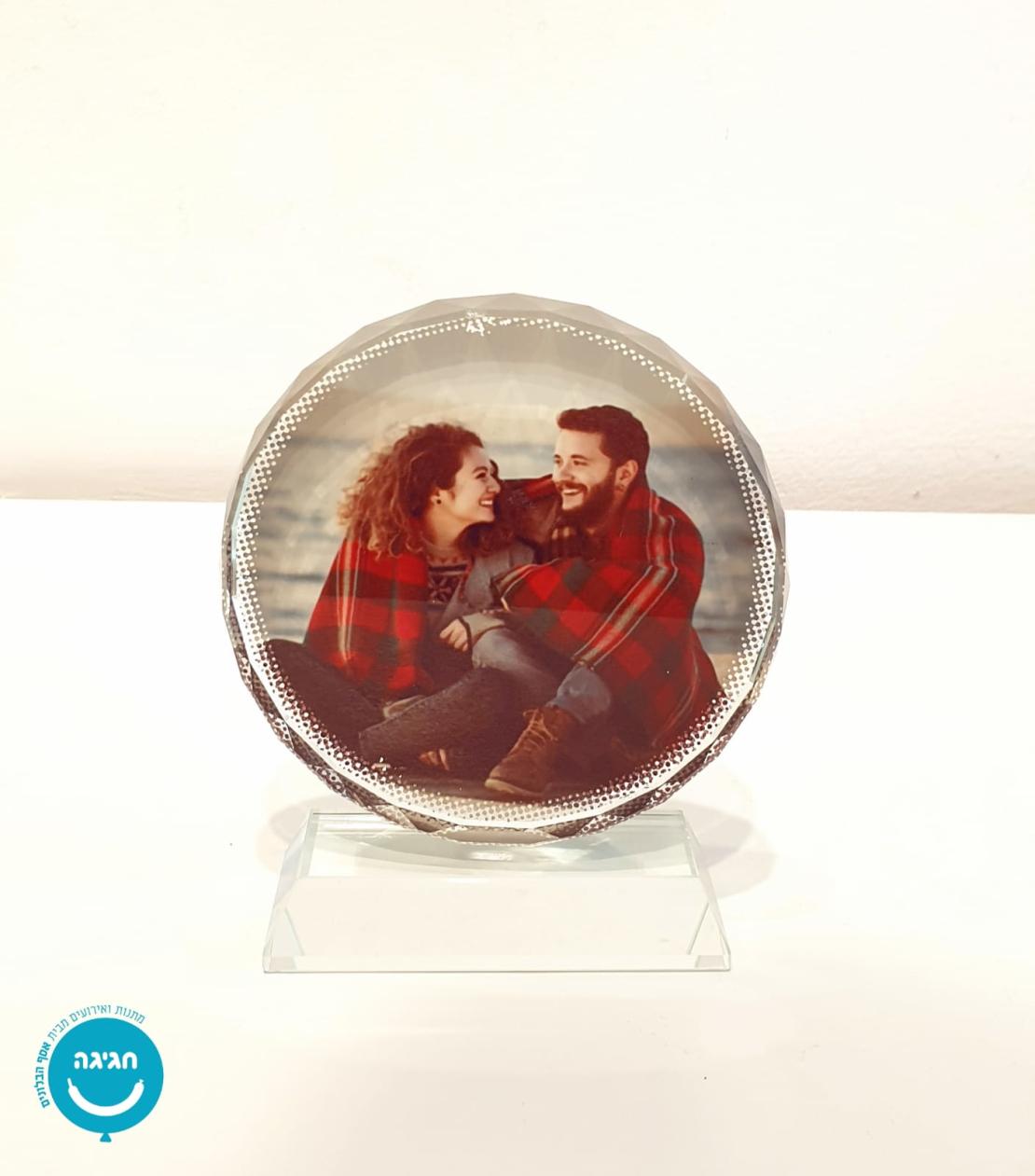 קריסטל זכוכית עגול עם תמונה