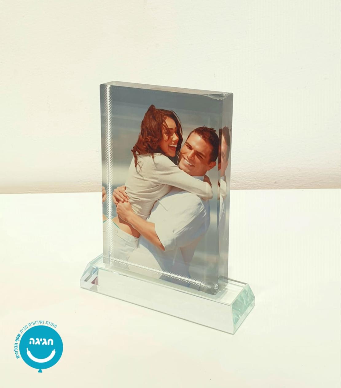 קריסטל זכוכית מלבן עם תמונה