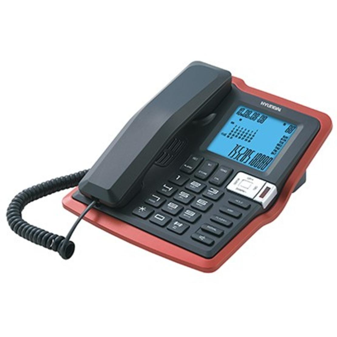 טלפון משרדי צג גדול דקורטיבי שחור/אדום HYUNDAI HDT-2700BR
